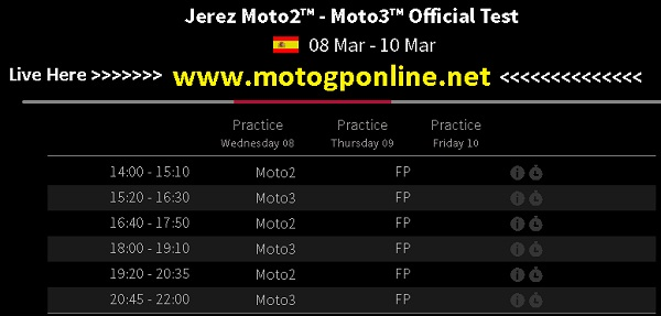 Jerez Moto2-Moto3 Official Test live